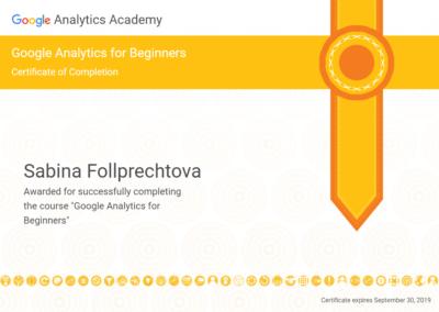 certifikát GoogleAnalytics