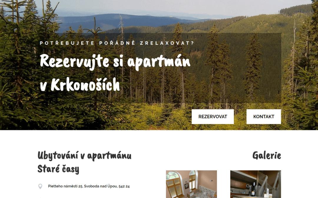 Rezervační stránky pro Apartmán Staré časy